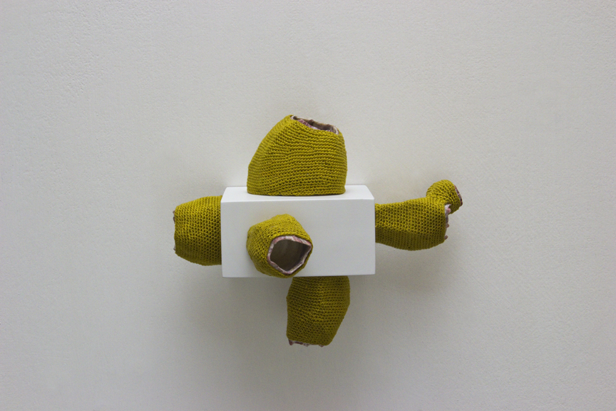 "Esther Traugot, ""Barnacles Attached,"" 2016, five barnacles, dyed cotton string, wood shelf, 5 ½  x 3 ¾ x 3 ½ inches"