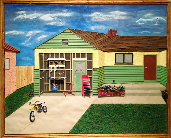"Bobby Dean Evans Jr., ""The Garage,"" 2016, mixed media on cardboard, 26.25 x 32.5 inches framed"