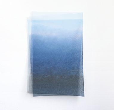 "Jacqueline Sherlock Norheim, ""Fallen Landscape: Pervading Blue,"" 2015, archival print on nylon mesh, steel pins, 40 x 27 inches"