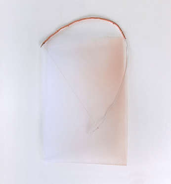 "Jacqueline Sherlock Norheim, ""Thread,"" 2016, spray paint on nylon mesh, wood, copper, acrylic, 40 x 24 inches"