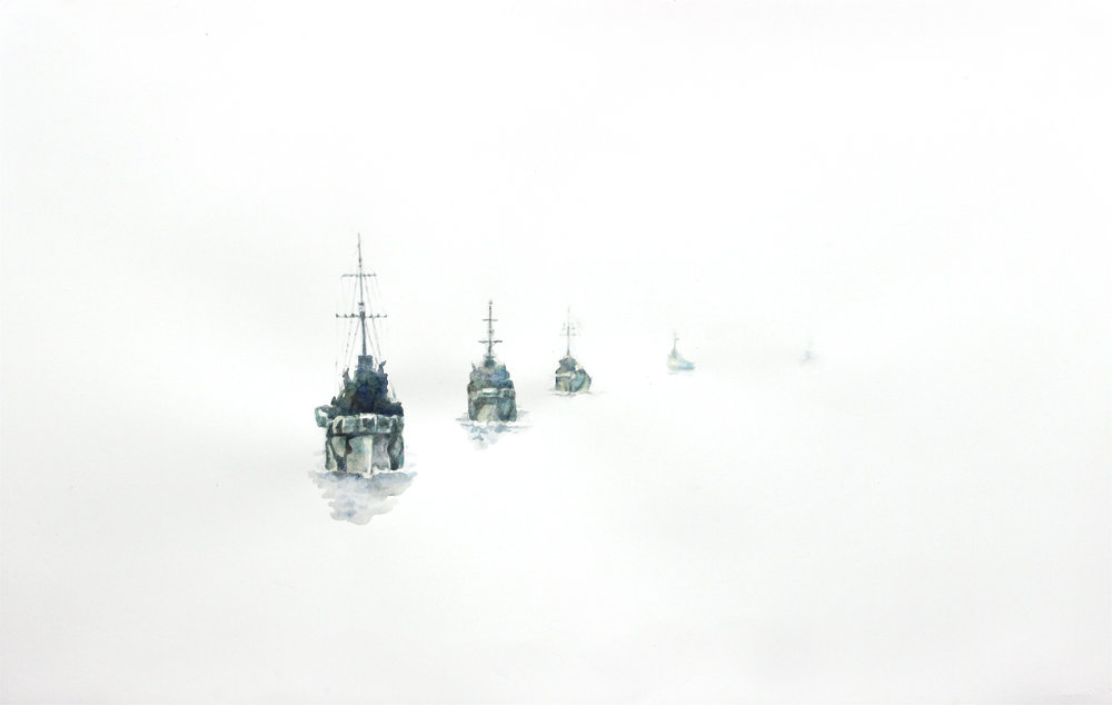 "Alison OK Frost, ""Arctic Curse 3: Convoy,"" 2016, watercolor on Arches paper, 25 x 41 inches"
