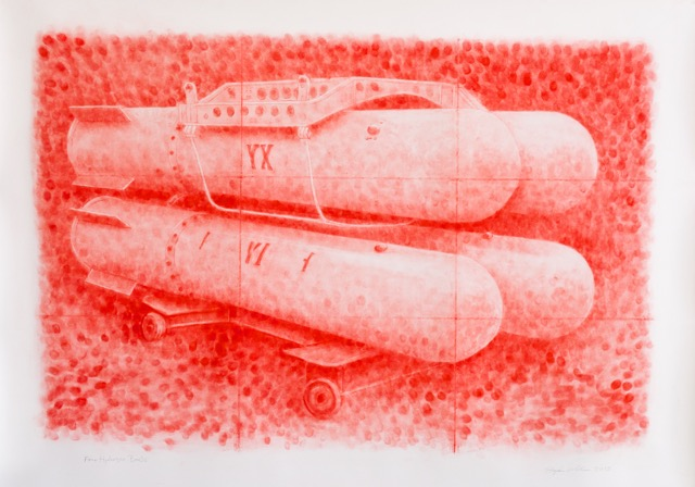 "Stephen Whisler, ""Four Hydrogen Bombs,"" 2015, pastel on paper, 40 x 55 inches"