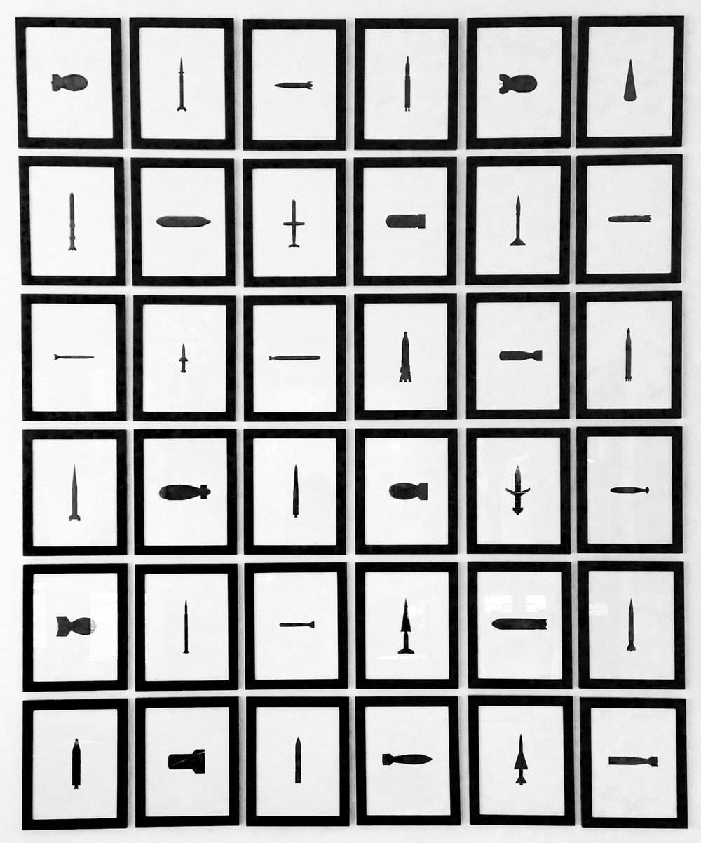 "Stephen Whisler, ""Thermonuclear Flashcards,"" 2016, india ink on paper, 16 x 13 inches"