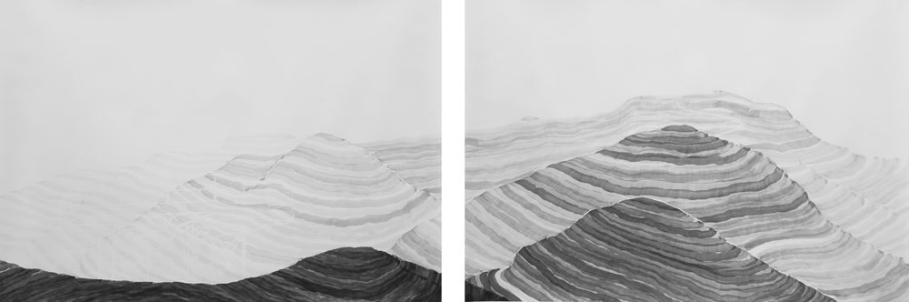 "Paul Taylor, ""Hawk Hill Diptych,"" 2012, sumi ink, graphite, and white conté crayon on paper, each panel, 33 x 49 inches"