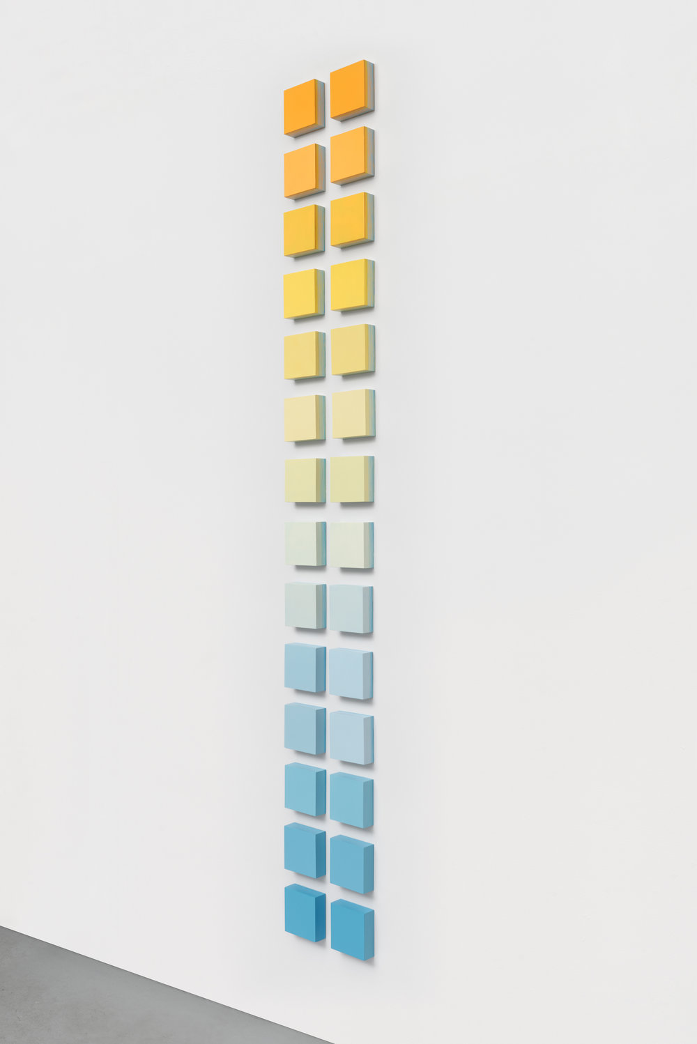 Mel Prest,  Marigold Ladder , 2016, acrylic on panel, (28) 5 x 5 x 2 inch panels, 96 x 12 x 2 inches overall Courtesy of the Artist and Chandra Cerrito Contemporary, Oakland