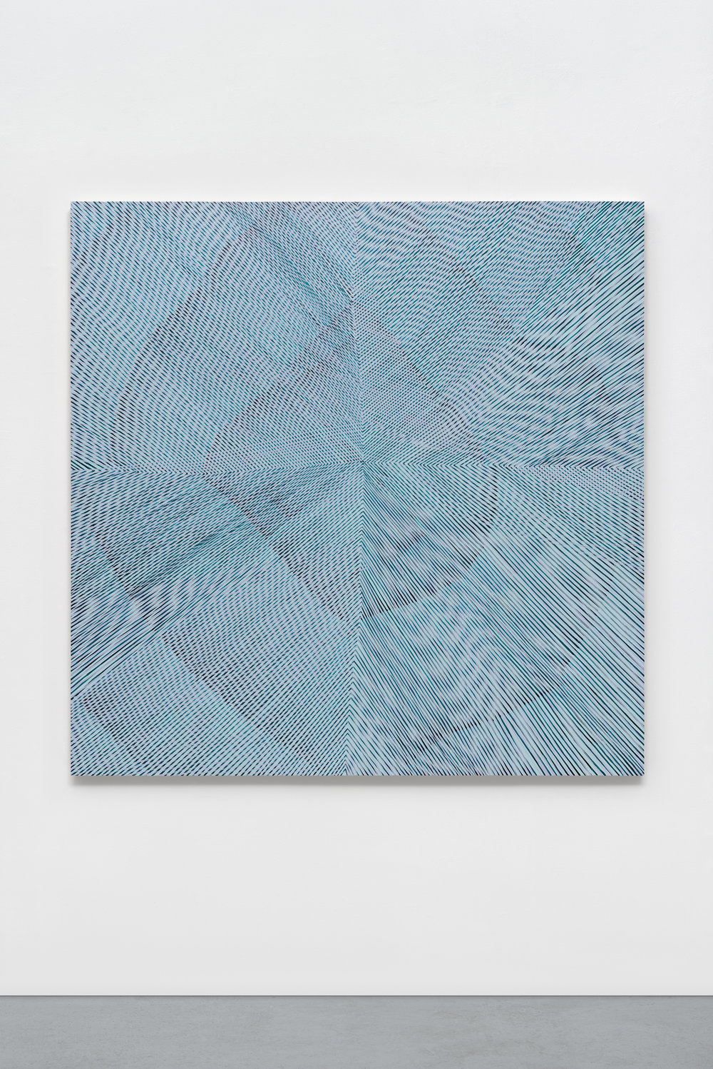 """Blue Morning Glory,"" 2017, acrylic on panel, 60 x 60 x 2 inches"