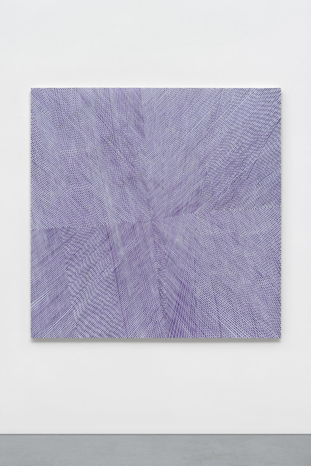 """Lilac Aura,"" 2017, acrylic and interference on panel, 60 x 60 x 2 inches"