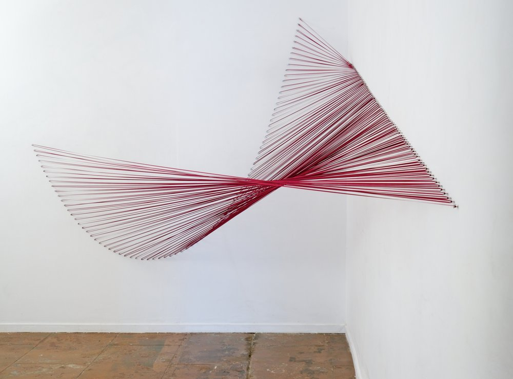 Sabine Reckewell, Red Curve into Plane , 2012,ribbon and nails,7 x 7 x 11 feet