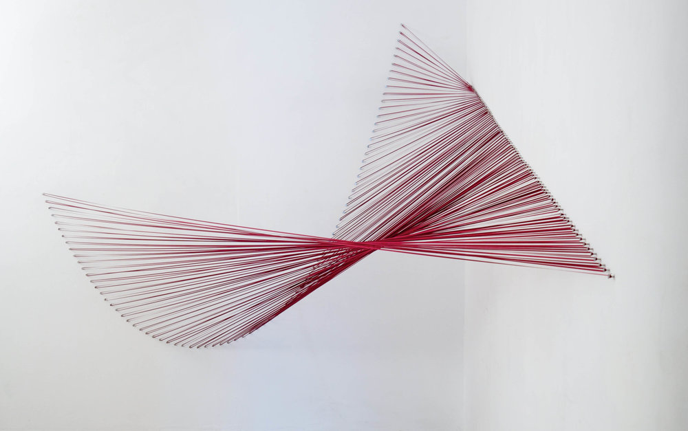 """Sabine Reckewell, """"Red Curve into Plane,"""" 2012, ribbon and nails, 7 x 7 x 11 feet"""