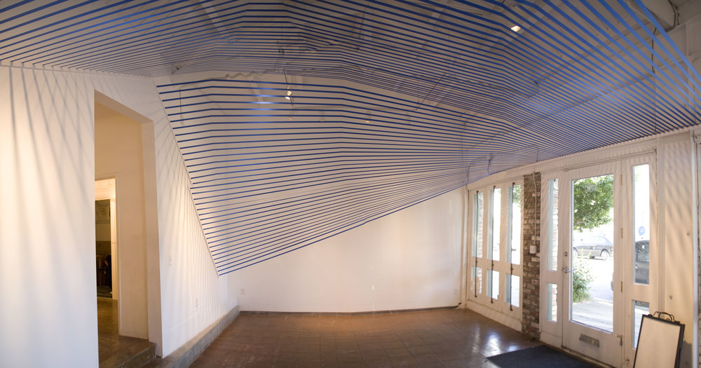"""Sabine Reckewell, """"Blue Canopy,"""" 2013, ribbon and wood, dimensions variable"""
