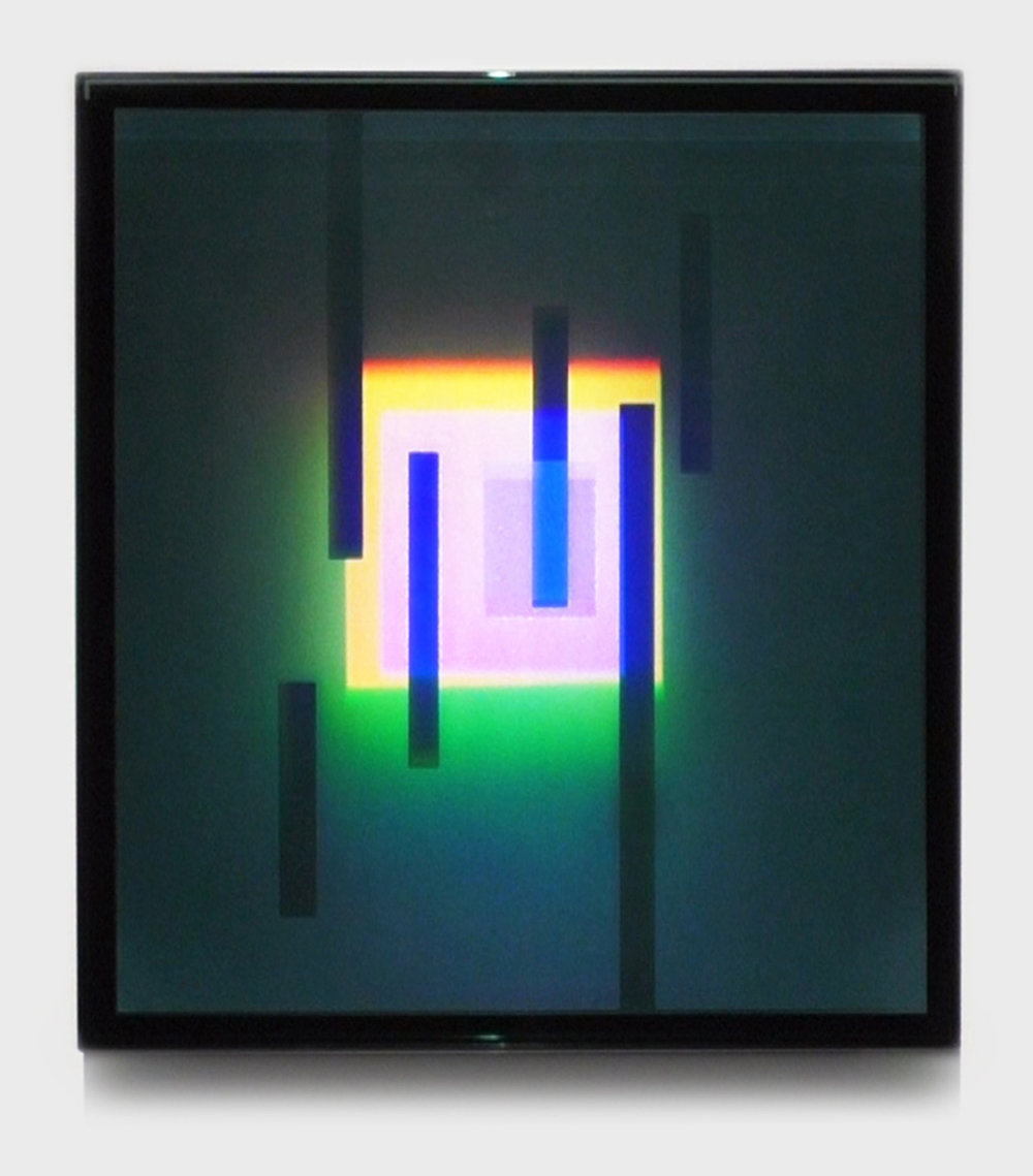 """Oblique Acceleration,"" 2015, holograms laminated in glass, 22 1/2 x 20 1/2 x 1.5 inches, optical depth volume 14 inches"