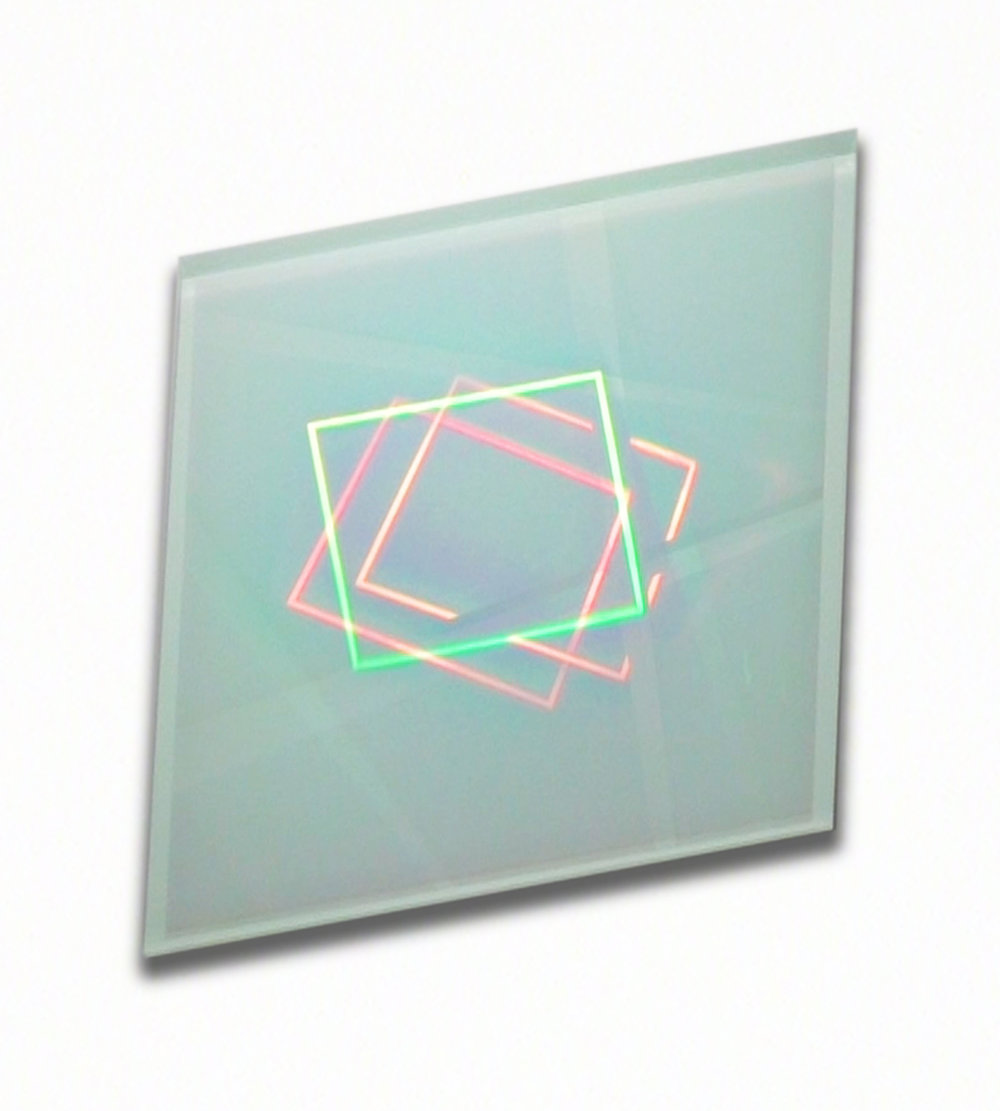 """Pneuma,"" 2016, holograms laminated in glass, 14 x 14 x 1 inches, optical depth volume 11 inches"