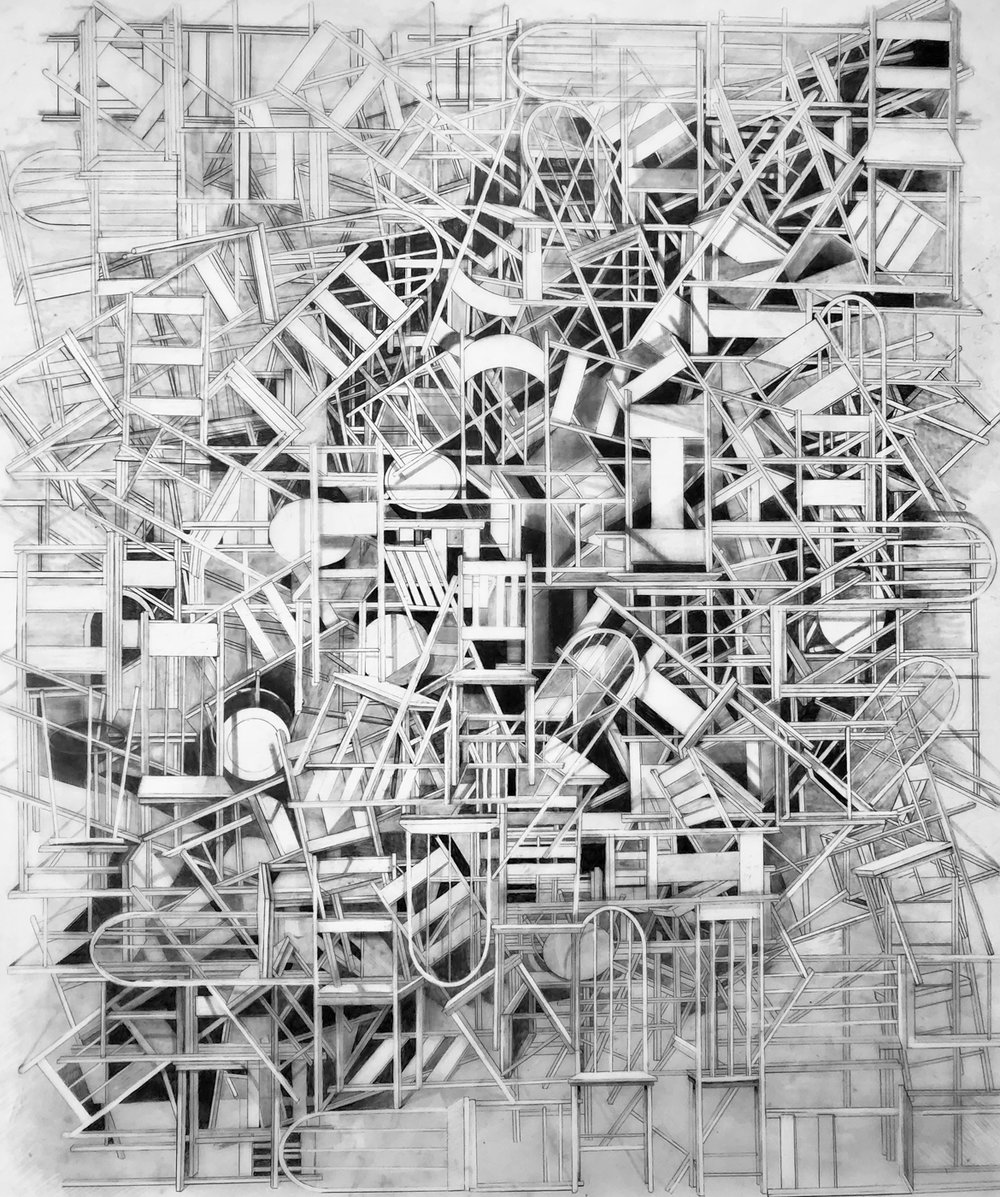 """""""A place of rest in the middle of things 2,"""" 2017, graphite on mylar, 36 x 37 inches"""