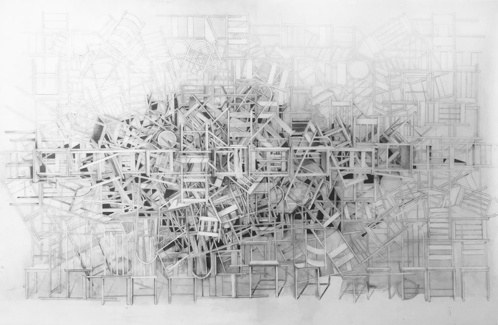 """""""A place of rest in the middle of things,"""" 2017, graphite on mylar, 36 x 58.5 inches"""