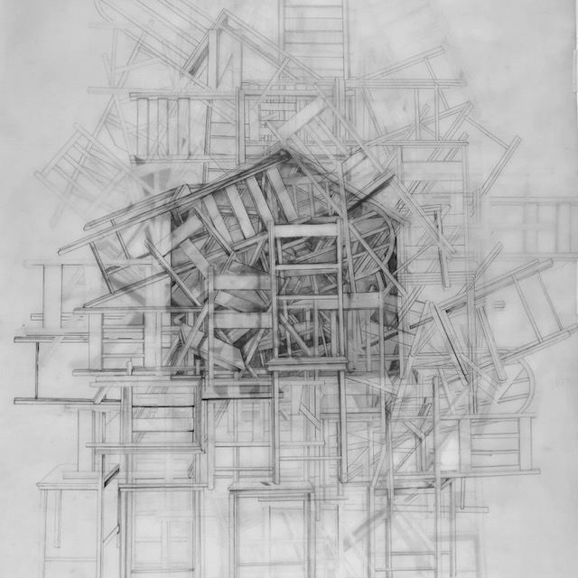 """""""Sanctuary,"""" 2017, graphite on 3 pieces of layered mylar, 23.5 x 29.5 inches"""