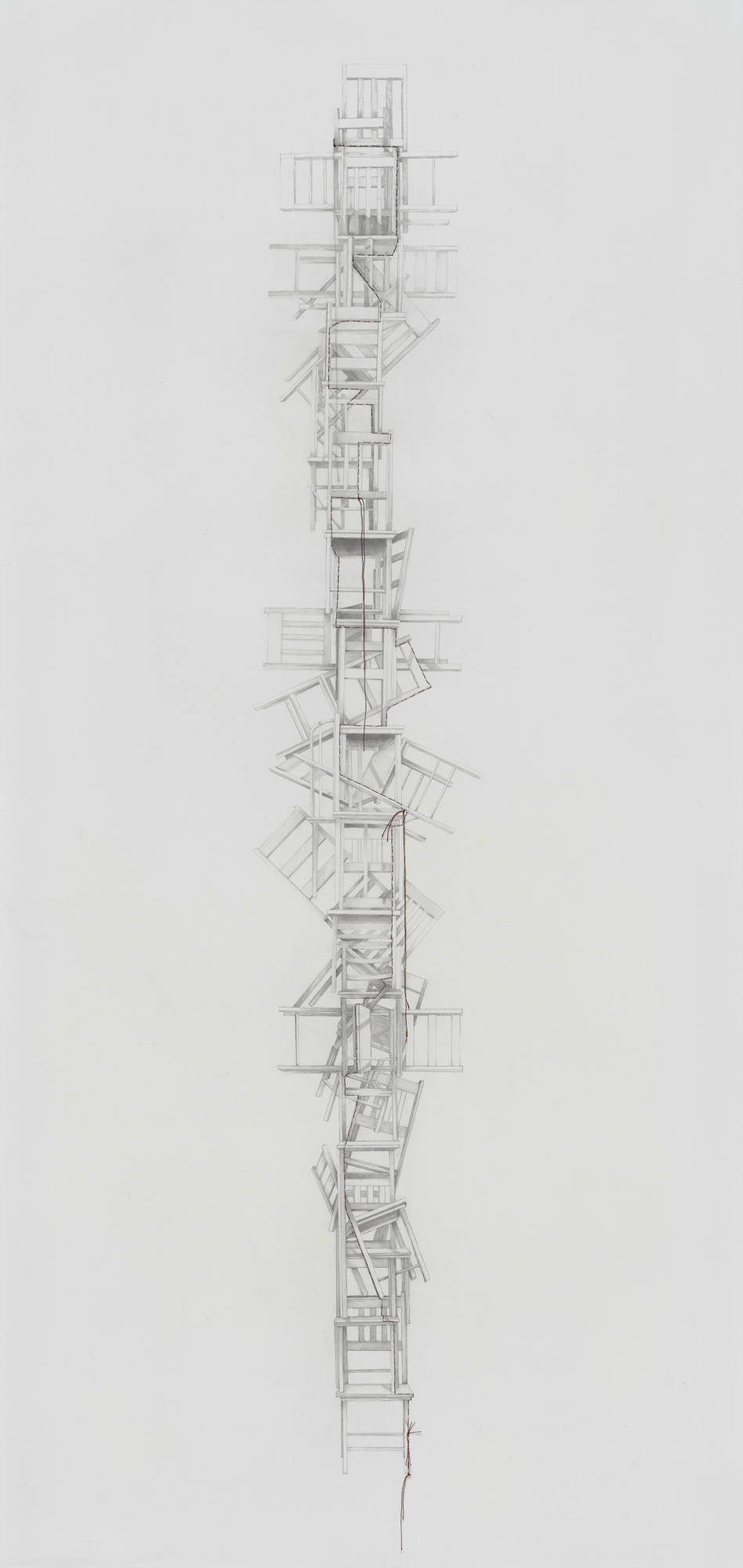 """""""Family Tree,"""" 2017, graphite on mylar with stitching, 65 x 36 inches"""