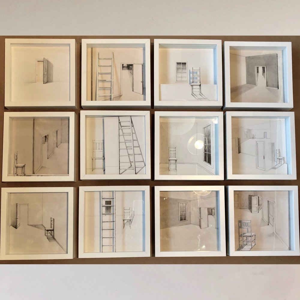 """""""Interiors,"""" 2017, graphite on cut paper, framed sections 1-12, 10 x 10 x 1 inches each"""