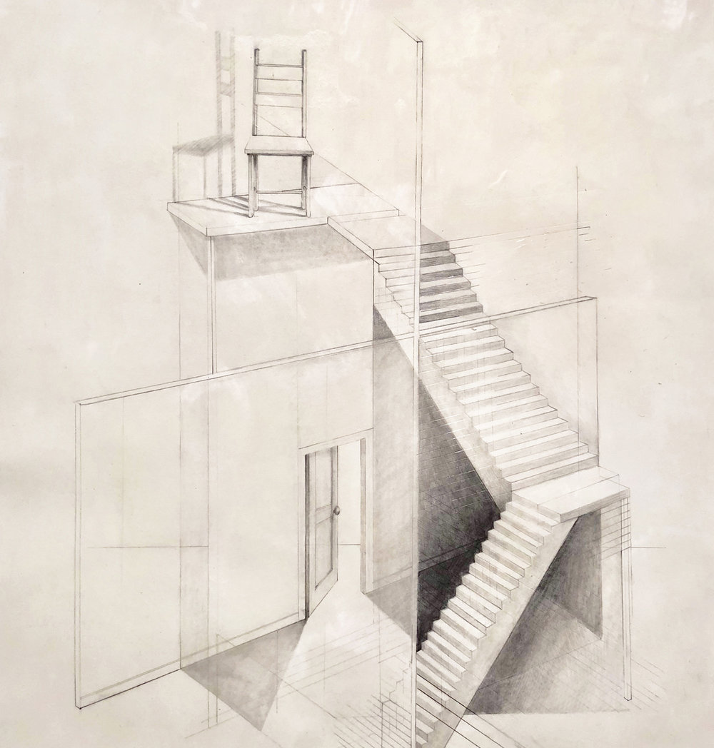 """""""Observation,"""" 2017 graphite on paper with beeswax, framed 20 x 22 inches"""