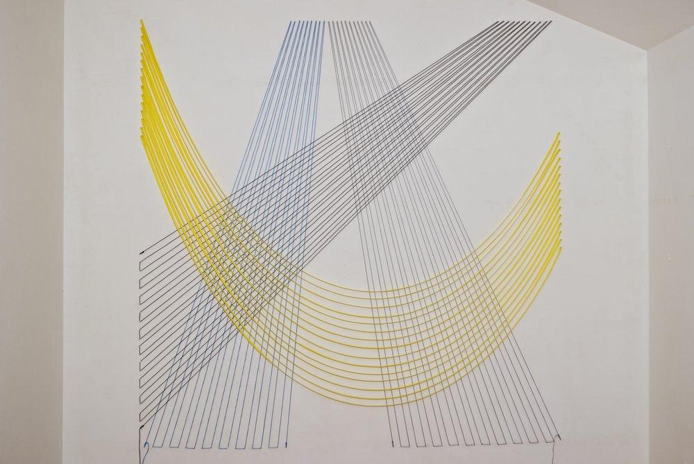 """Composite #3,"" 2017, nylon chord, nylon webbing, nails, 78 x 78 inches"