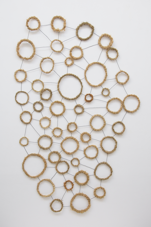 "Mari Andrews  ""Colony,"" 2018, steel and lichen, 64 x 41 x 1 inch"