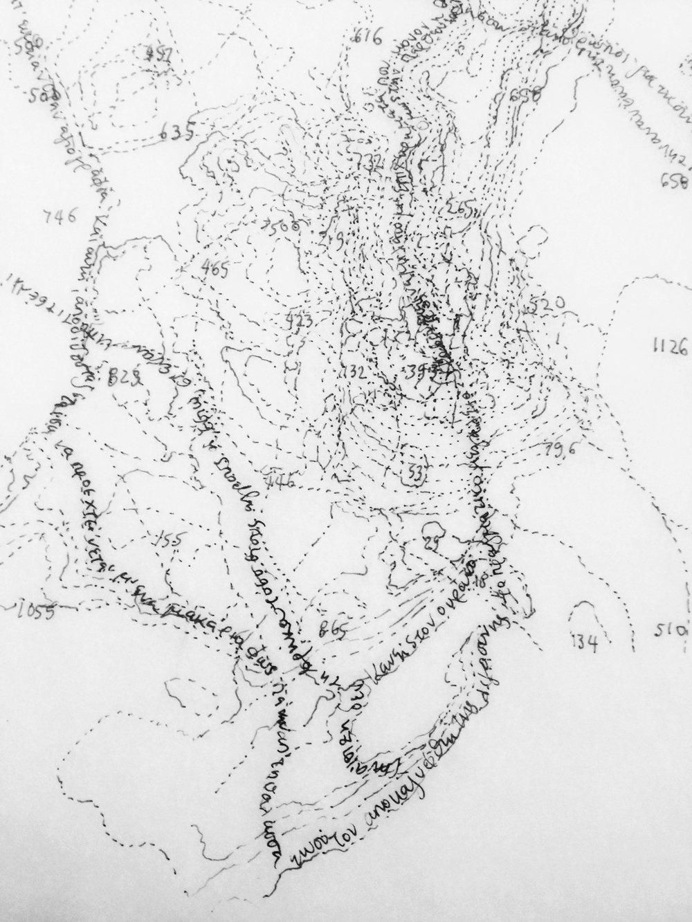 Dimitra Skandali,  Amorgos , 2017,ink on tracing paper