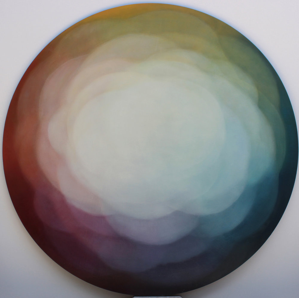 """Spectral Arc,"" 2018, oil on canvas, 48 inches round"