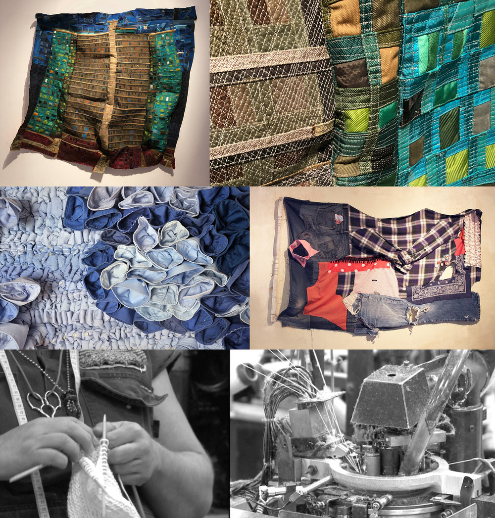 Top: Mansur Nurullah,  Ida B. Wells , 2018 (detail on right) Center: Angie Wilson,  Hand Knotted #2, #3, #4 , 2011 (left); Angie Wilson,  Freak Flag #2 , 2012 (detail)(right) Bottom: Carole Frances Lung,  The Industrial Knitting Machine , 2015 (details)