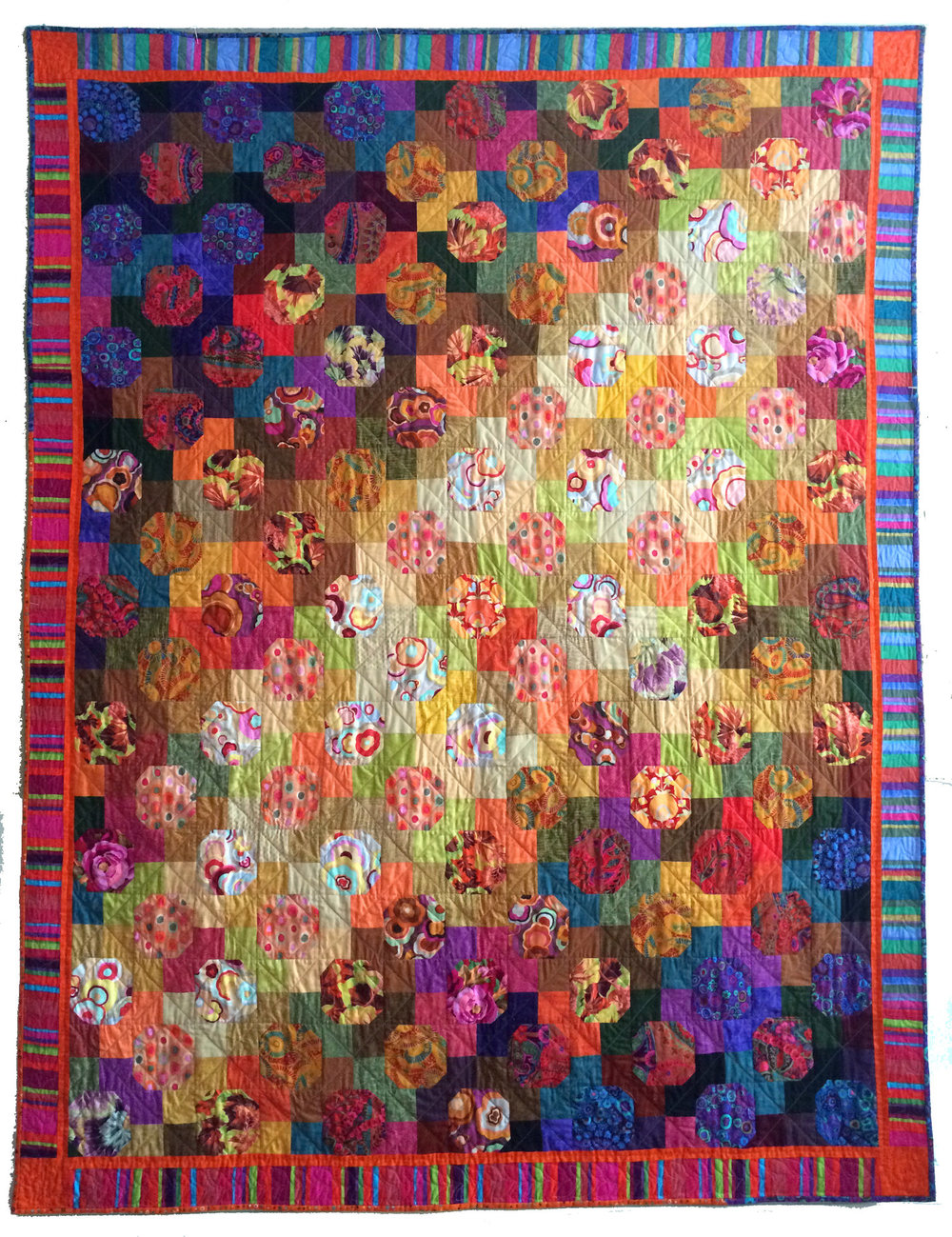 Created by Valerie K Turer. 56 in. x 76 in. Raffled at our January 2017 meeting.