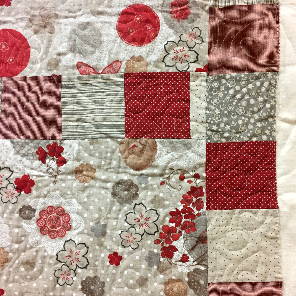 French linen quilt detail. By Susan Sato