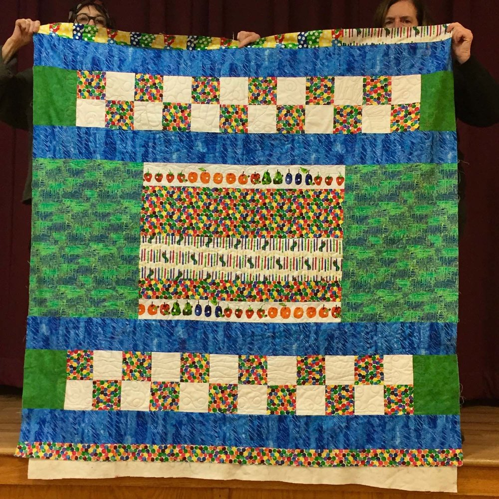 Hungry Caterpillar quilt back by Kathy O'Leary