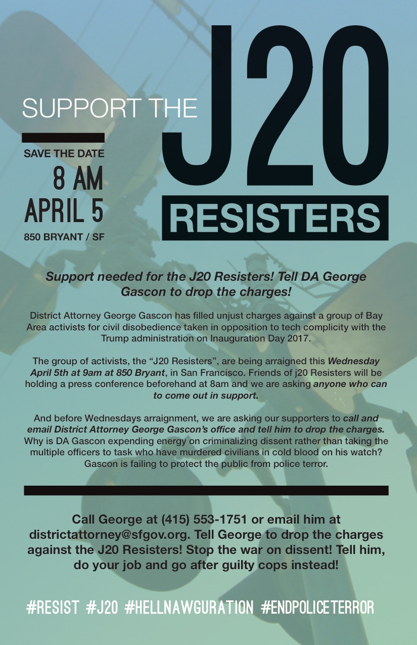 Support needed for the J20 Resisters! Tell George drop the