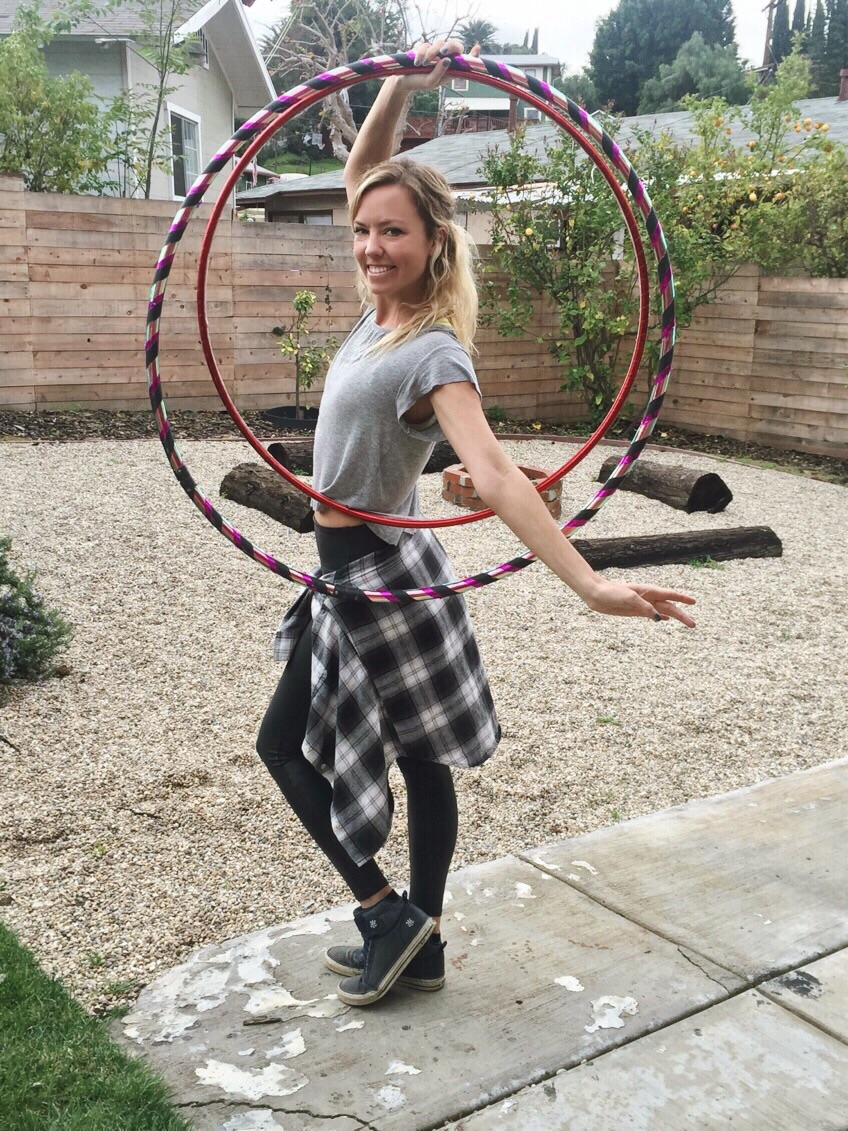 Morgan gave me a quick hoop lesson in my backyard before recording the podcast. So much fun!