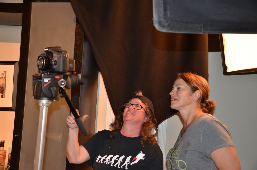 With DP Adriana Torres on the set of Venice.