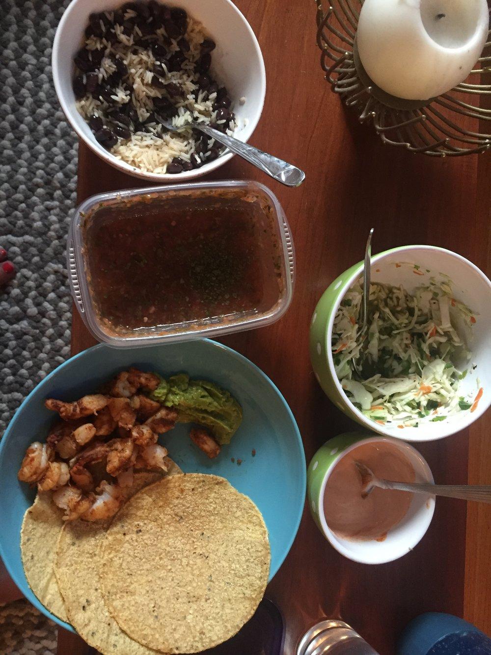 Dinner- Shrimp Tacos!