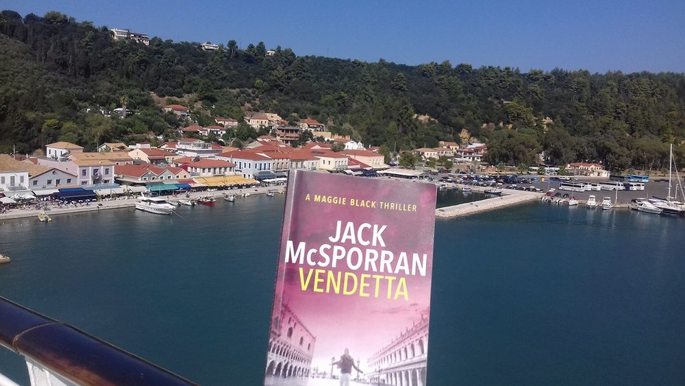 Charline made Vendetta her holiday read in Katakolon.