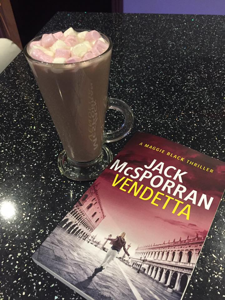 Diane settled down to read Vendetta with some yummy looking hot chocolate.