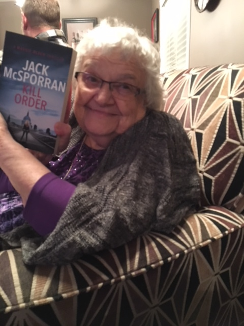 The beautiful Vicki Ortman with her copy of Kill Order.