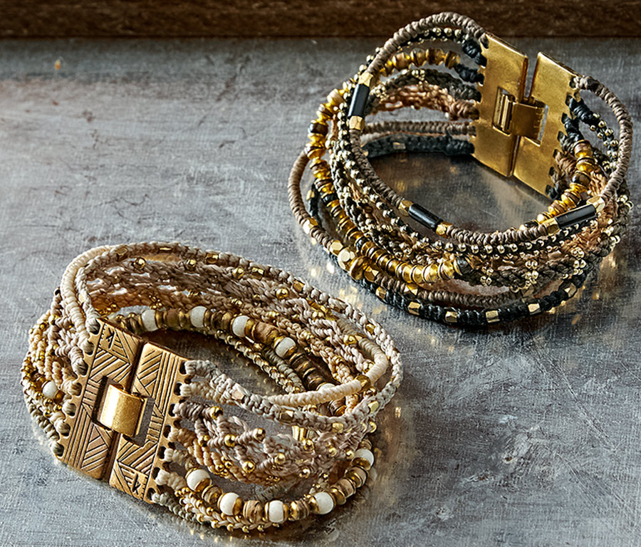 Marrakesh Wrap Bracelet   Seven individual woven bracelets form this cuff with hinge clasp.