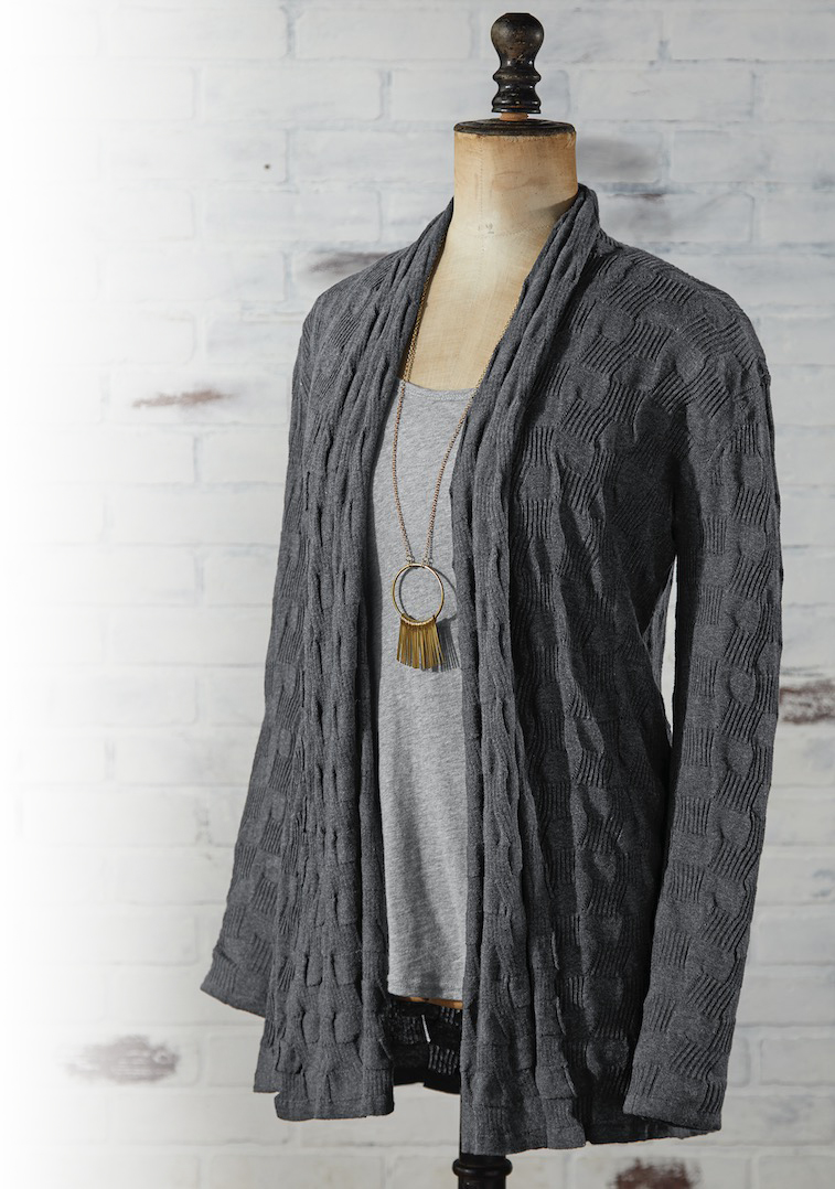 LABYRINTH CARDIGAN   A slim, flattering drape with a ruffled cowl opening that beautifully frames the neckline. Long, lean and soft — with lots of interesting tonal texture. This is a perfect addition to your wardrobe.