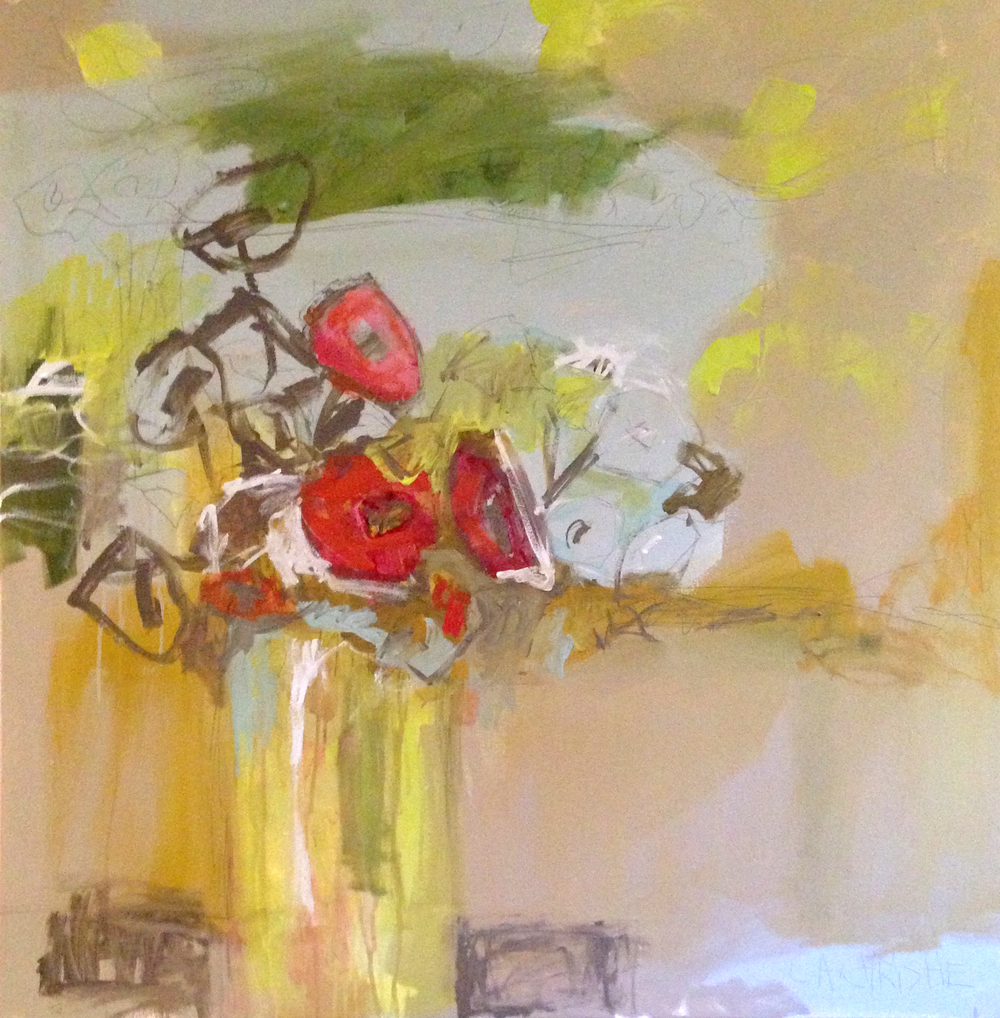 Poppies in Citron, 36x36  SOLD