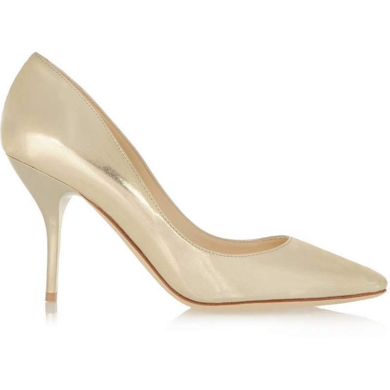 JIMMY CHOO - Mei Metallic Textured-Leather Pumps