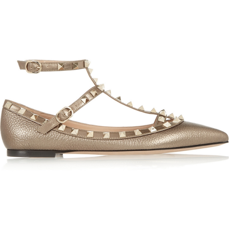 VALENTINO - Rockstud Metallic Textured-Leather Point-Toe Flats