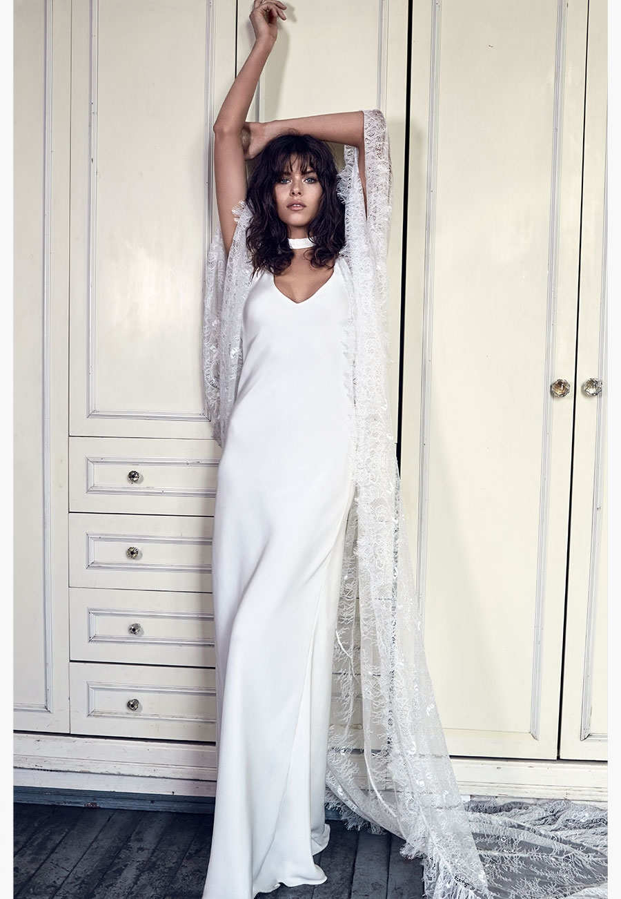 GRACE LOVES LACE // Arlo gown & Roberta Cape // The Blanc Collection as featured on LOVE FIND CO.