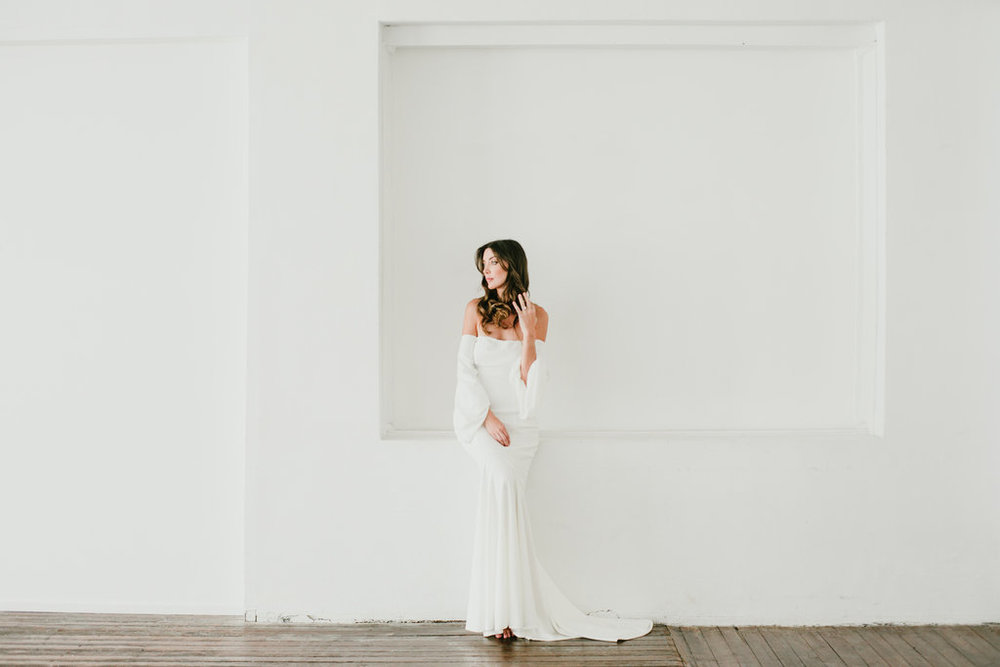 Off the shoulder wedding dress featured in the first editorial by LOVE FIND CO.