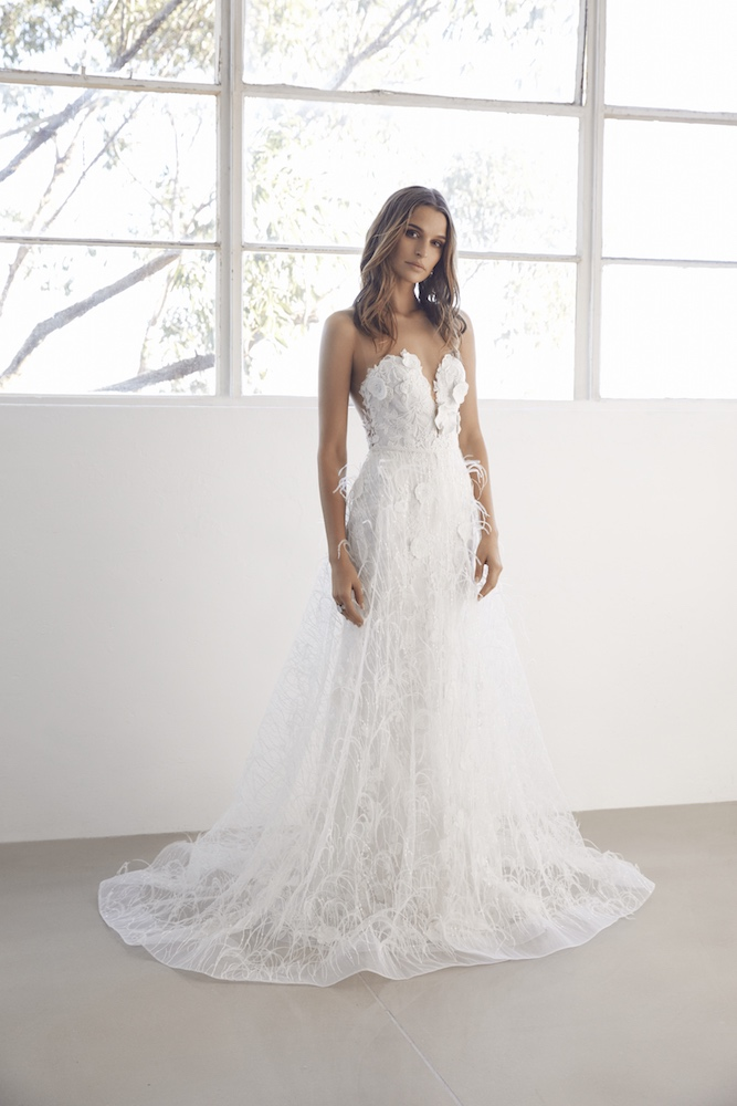 Suzanne Harward Allure Wedding Dress with Feather Overskirt as featured on LOVE FIND CO.