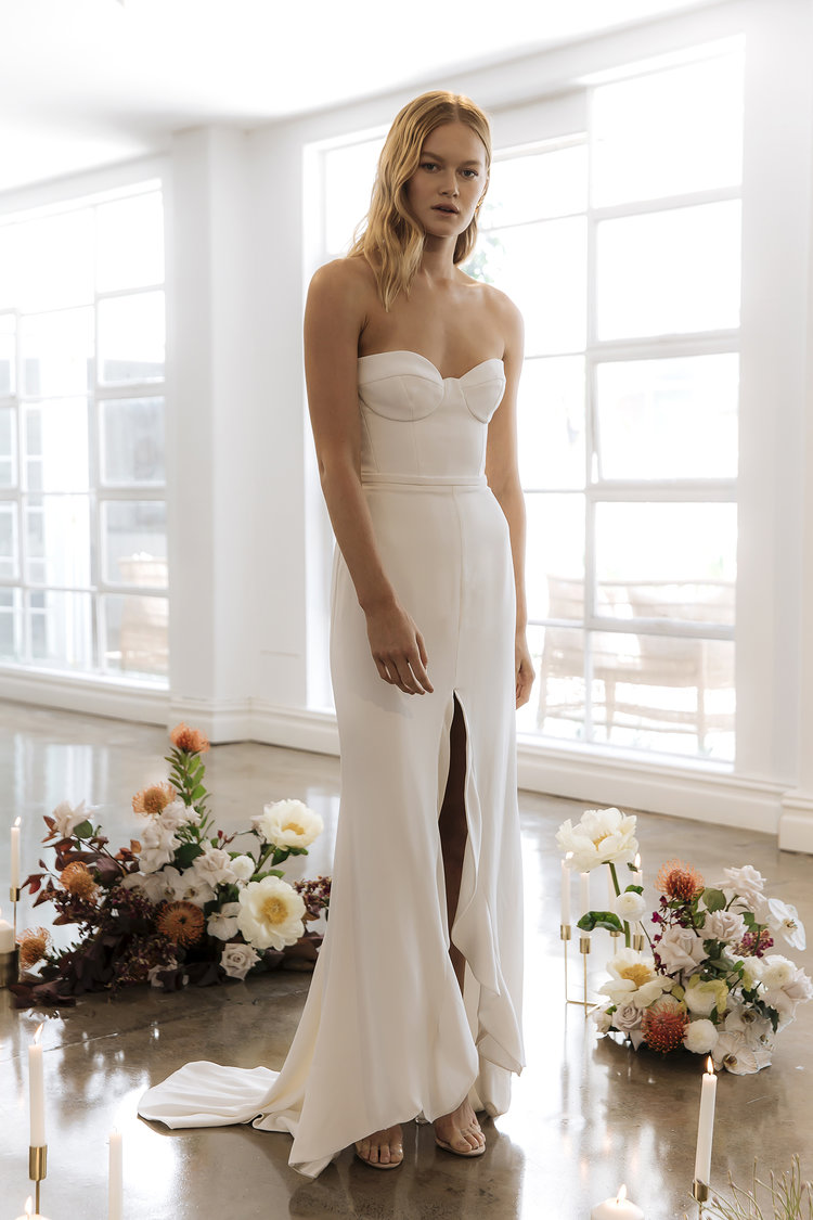 The Alexa wedding dress by Prea James featured on LOVE FIND CO.