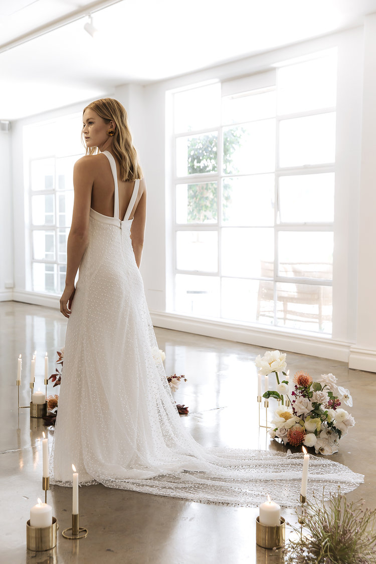 The Chloe wedding dress by Prea James as featured on LOVE FIND CO.