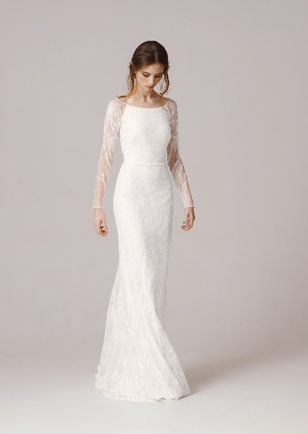 Wedding dress with lace sleeves featured on LOVE FIND CO.