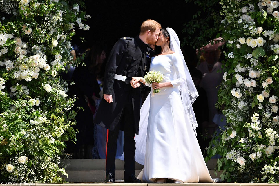 Prince Harry and Meghan Markle Kiss on their wedding day