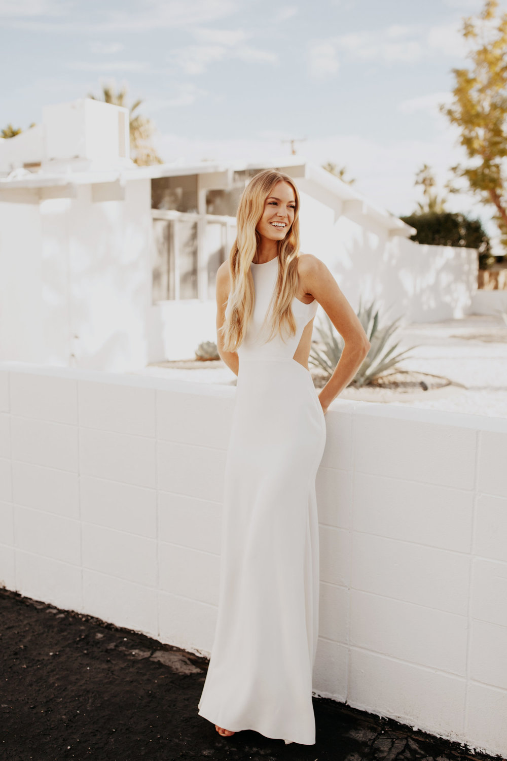 The Orlean Halter Neck Wedding Dress by Sarah Seven featured on LOVE FIND CO.